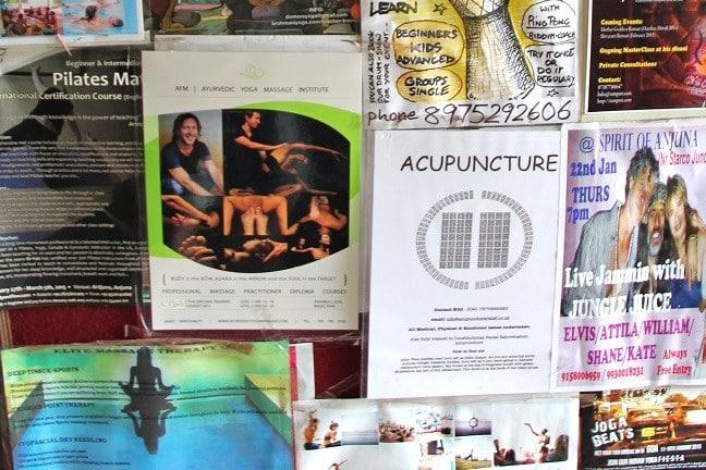 Bulletin board in Anjuna(acupuncture, pilates), Goa - India