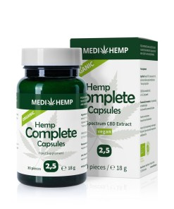 Organic Hemp Complete 2,5% CBD olej v kapslích, 375mg, 30ks tobolek