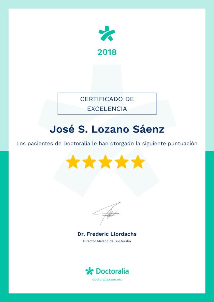 Certificado a la Excelencia 2018