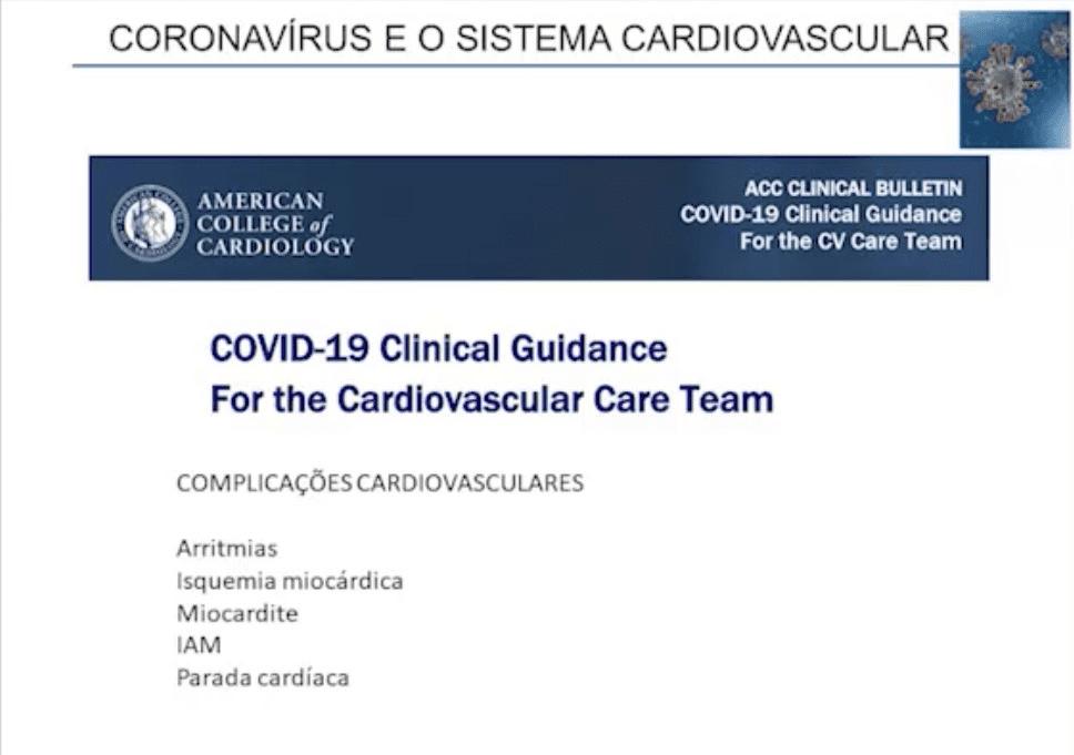 Coronavirus e o sistema cardiovascular - manifestações
