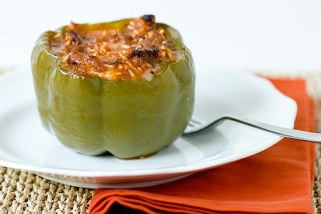 Sausage, mozzarella, and basil stuffed peppers from the Brown Eyed Baker