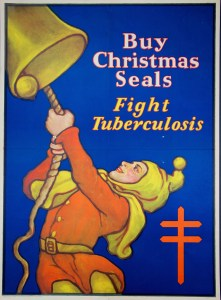 A poster with a drawing of a man in a medieval costume pulling a rope and ringing a bell