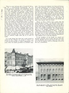 Scanned page of a eulogy for DeLee featuring images of a two hospitals.