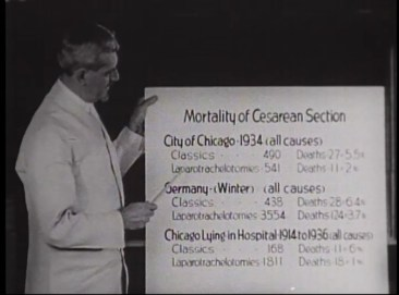 Film still of DeLee pointing to a poster reading Mortality of Cesarean Section with data from three areas.