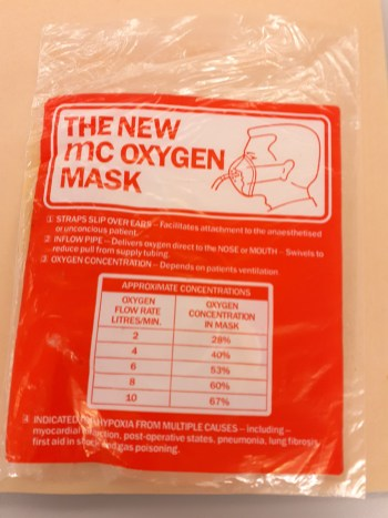 The newmc oxygen mask bag with a description on it