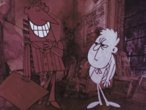 White cartoon boy in suit standing next to taller man colored red smiling wide with teeth