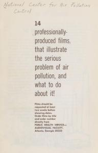 First page of a pamphlet advertising films on air pollution for public screening.