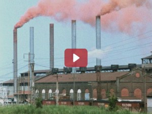 Air Pollution from industrial smokestacks.