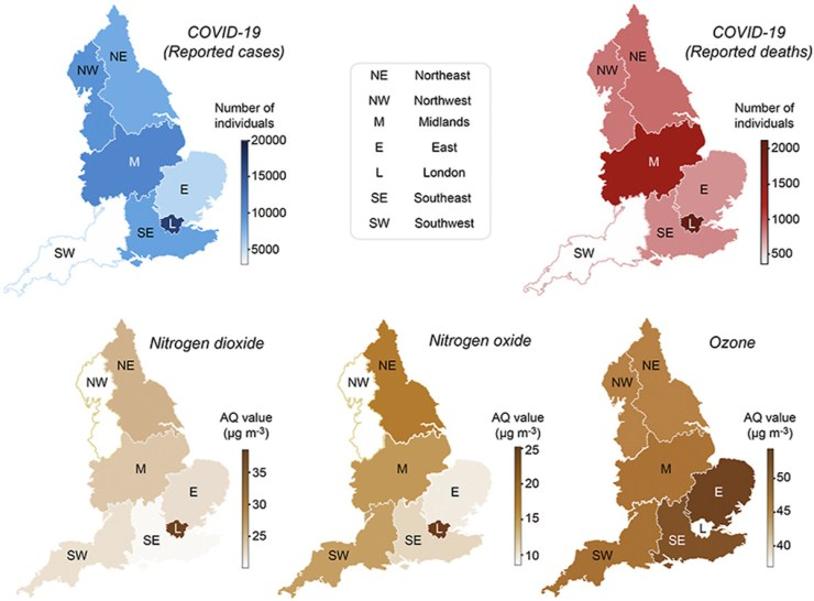 A series of maps relating COVID-19 deaths and cases and Nitrogen dioxide, Nitrogen oxide, and Ozon levels in regions of the UK.