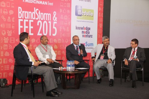 FFE 2015 CEO RT (L-R): Sujay Shetty - Partner, PwC; K. Hariram - MD (retd.), Galderma India; K. Shivkumar - Managing Director, Eisai Pharmaceuticals; Anjan Ghosh - Director, Commercial Excellence at Janssen India (J&J); Sanjiv Navangul - Managing Director at Janssen India