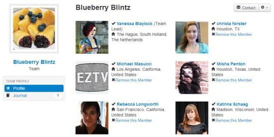 Profile image for Blueberry Blintz team featuring a photo of a plate of blueberry blintz, and profiles of the 6 team members: Christa Forster, Katrina Schaag, Michael Masucci, Misha Penton, Rebecca Longworth and Vanessa Blaylock
