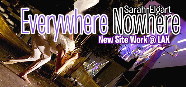 Sarah Elgart choreography. Los Angeles World Airports. Night. A dancer crawls through the neon lit terminal space.