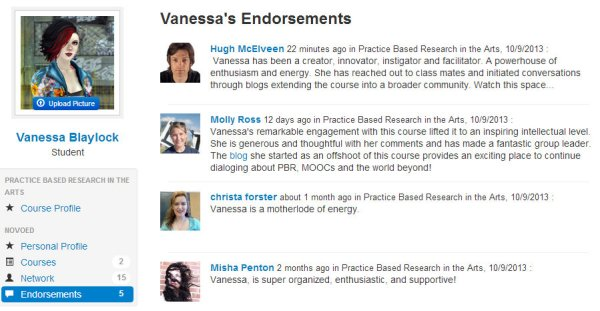 "screencap of ""endorsements"" on NovoED MOOC platform"