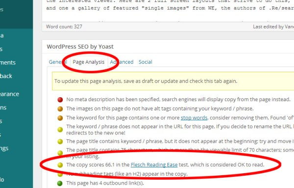 screencap of WordPress backend featuring Yoast SEO's Flesch Reading Ease Score