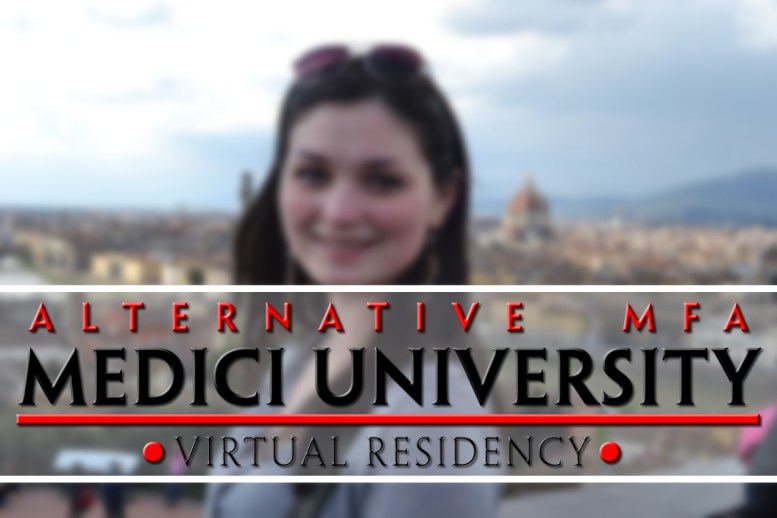 Medici Univeresity logo graphic with the Florence skyline in the background