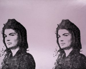 Jackie Kennedy in mourning printed twice on a purple background