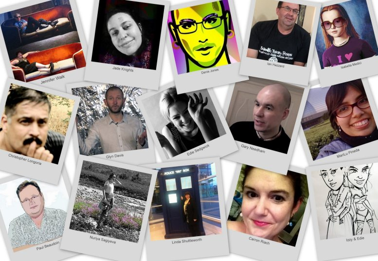 Collage of polaroid instant photos of contributors to the Warhol Issue of MOOC magazine