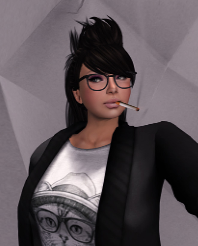 headshot of MU Creativity editor Art Oluja wearing a white t-shirt with a cat print on it, a black jacket, glasses, smoking a cigarette, and her hair in a sort of spikey updo