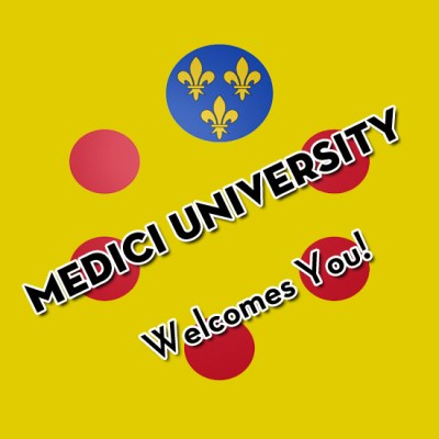 "Medici University crest with the text ""Medici University Welcomes You"""