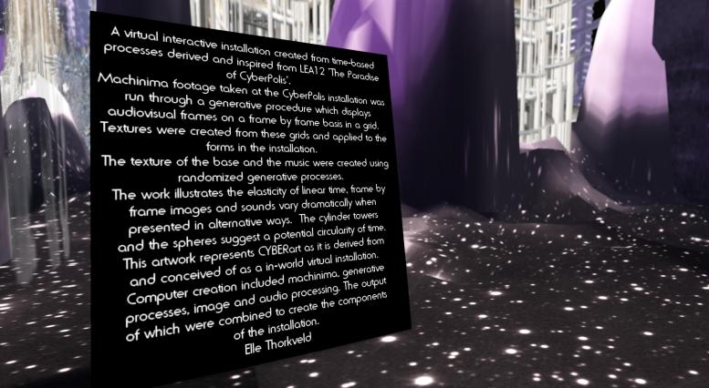 Elle's artist statement. click to read about her view of cyberart.