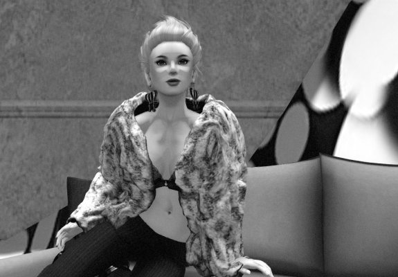 black-and-white photo of Edie Sedgwick avatar sitting on a sofa and wearing black tights, a black bra, and a fur coat