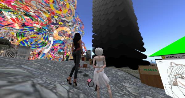 2 avatars looking at a tower composed of grey-scale rods and installed at Neeva's studio at Maria-4 at Medici University at LEA23