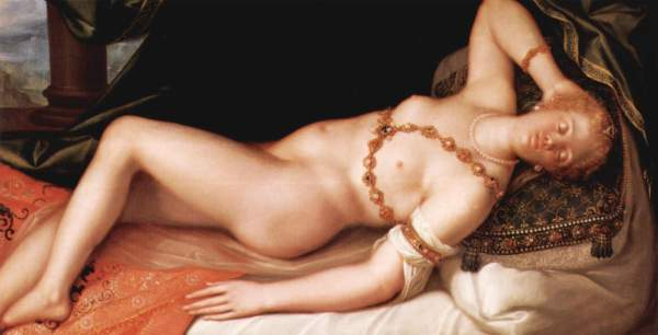 portrait of a Tullia d'Aragona as a reclining nude, 1600