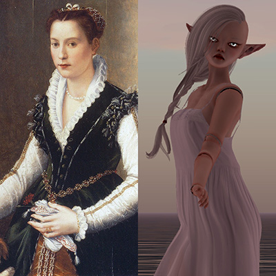 Portrait diptych of Isabella Medici in 1564 and Isabella Medici in 2014