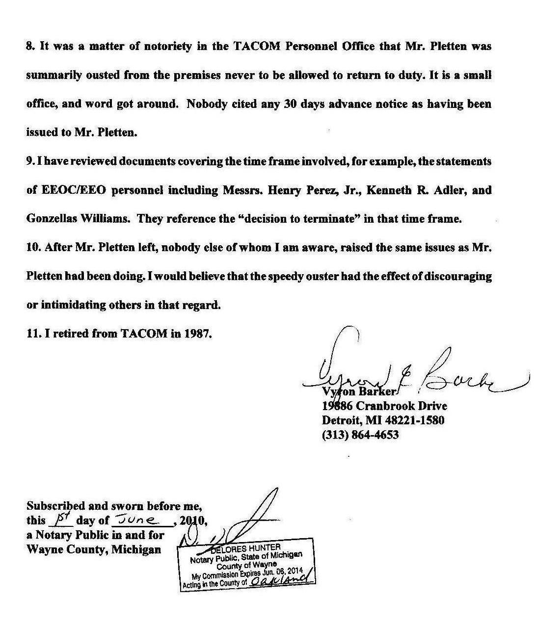 Affidavit Of Vyron E Barker Army Tacom