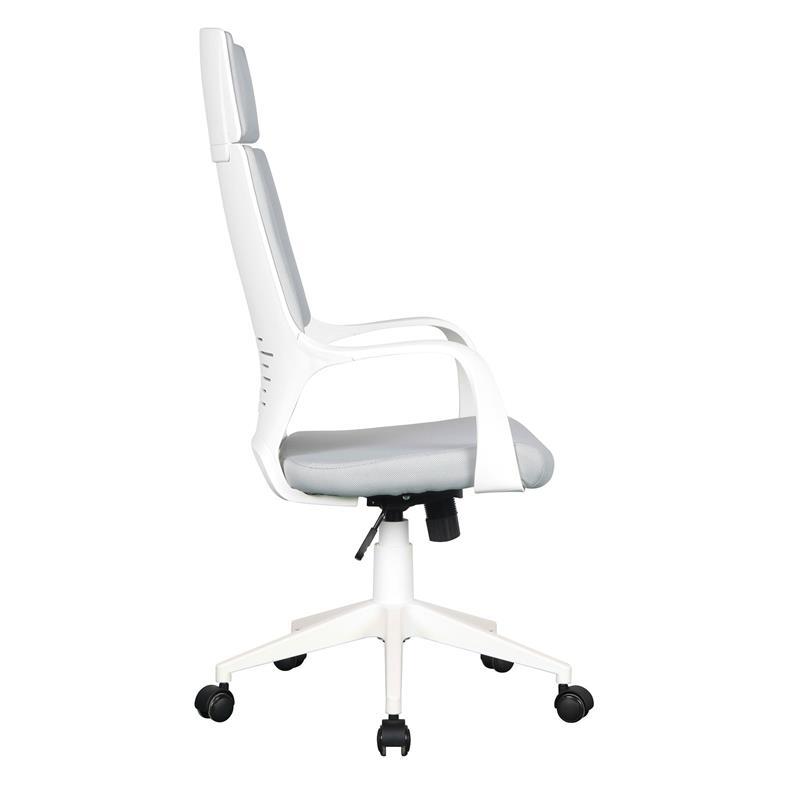 chaise de bureau tissu gris blanc 0898h