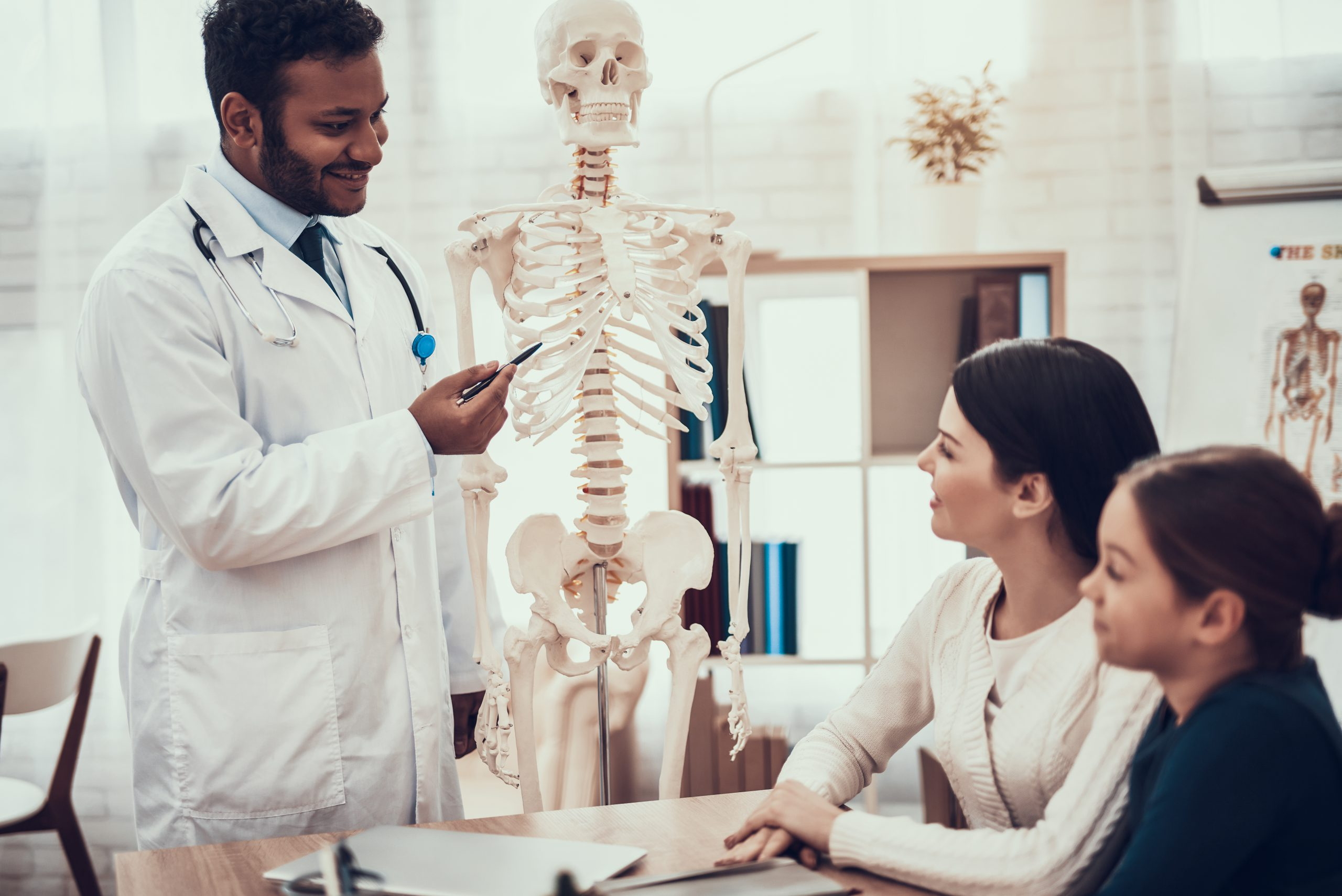 Doctor is showing skeleton to mother and daughter.. MEDIjobs