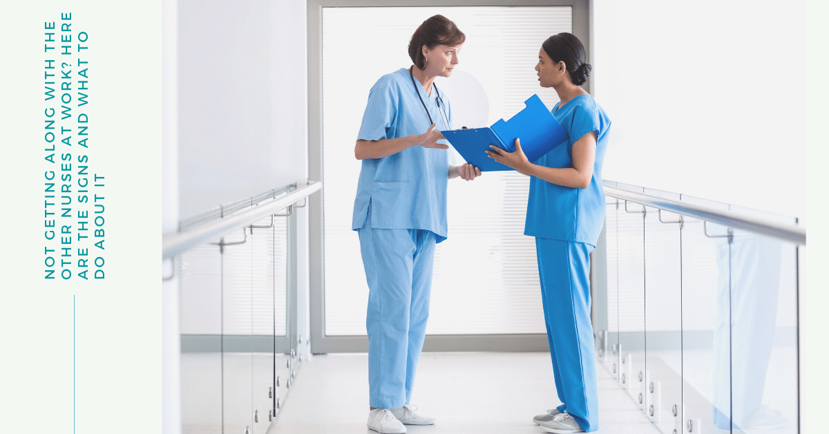 two nurses having an argument in the middle of a hospital hallway