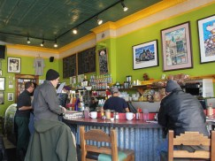 "Cafe Jumping Bean's customers are as varied as the neighborhood that surrounds it. ""You'll see everybody from your grandparents who lived here all their lives with their grandkids, to all the new hipster kids that they're talking about,"" Delgado says."