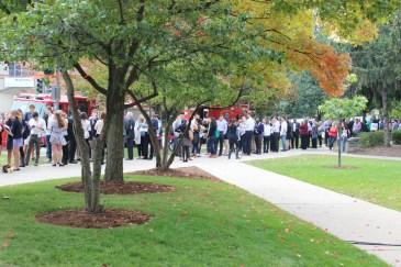 Northwestern students line up to hear President Barack Obama speak at Cahn Auditorium.