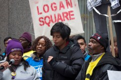 Organizers addressed the crowds in English and Spanish (Michael Epstein/Medill News Service)