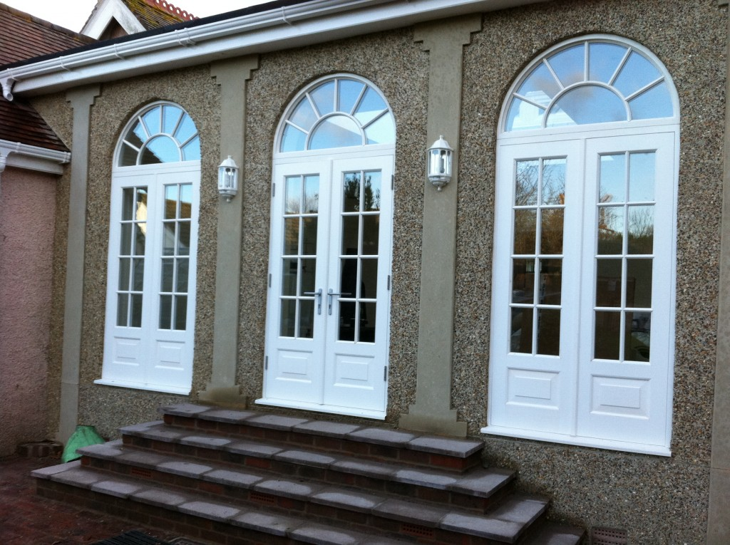 timber round top arched windows and