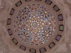 decorative motifs adorn the interior of a dome that crowns a pavilion next to al-Suhaymi House in Cairo Image