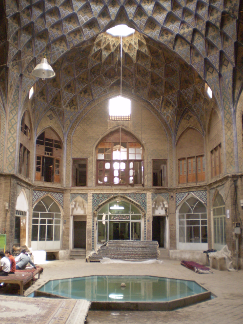 The interior of a caravanserai in Kashan, Iran. Image.