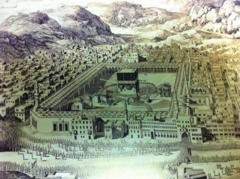 Image of A drawing of Makkah and al-Masjid al-Haram during a Hajj season from the Ottoman era.
