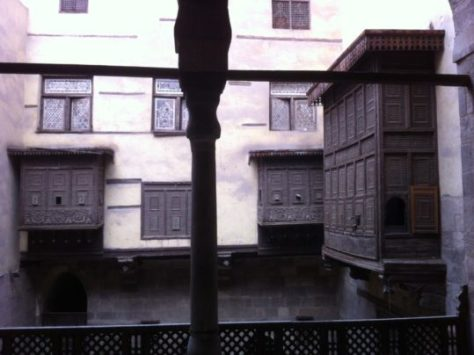 Mashrabiyyahs (rawashin) on a house in Cairo, Egypt image