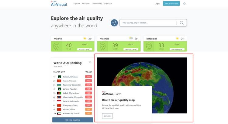 mapa interactivo de la contaminacion en tiempo real