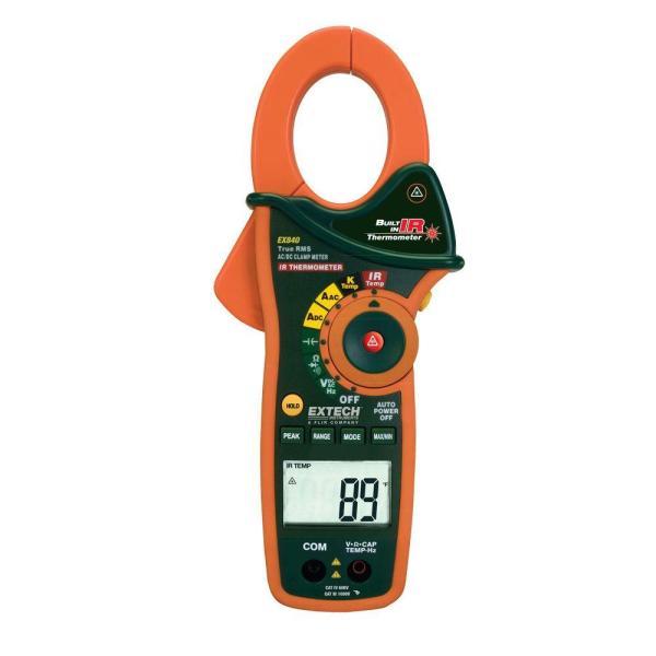 Pinza amperimétrica de CA/CC/multímetro digital con termómetro de infrarrojos incorporado