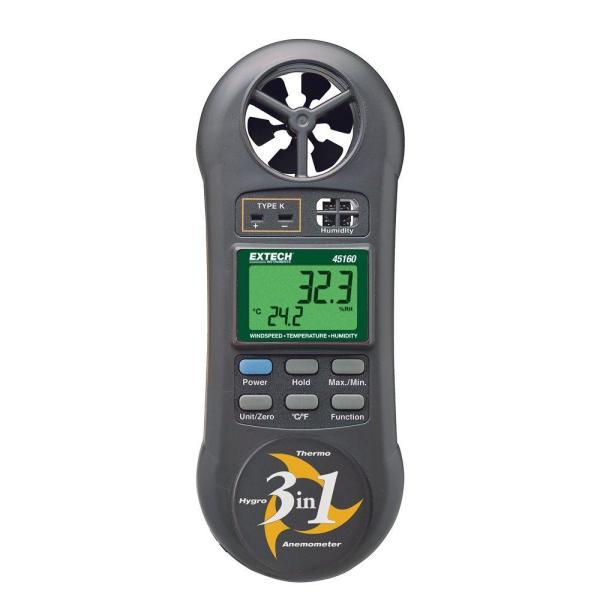 Medidor 3 en 1: humedad, temperatura y flujo de aire