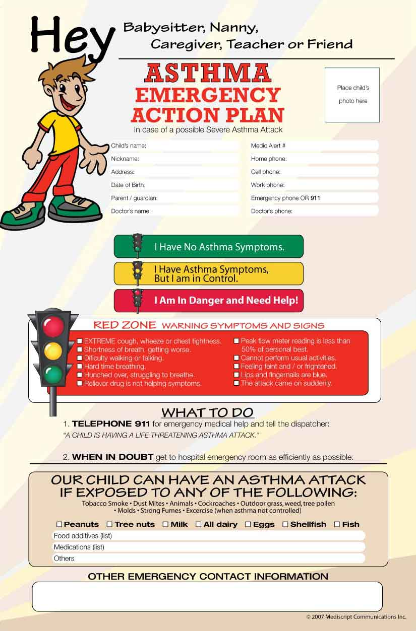 Asthma emergency action plan poster mediscript communications inc asthma aware poster nvjuhfo Choice Image