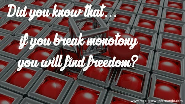 Break monotony and bring changes to your life.,