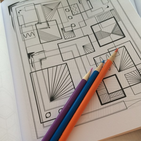 square geometric designs coloring book page