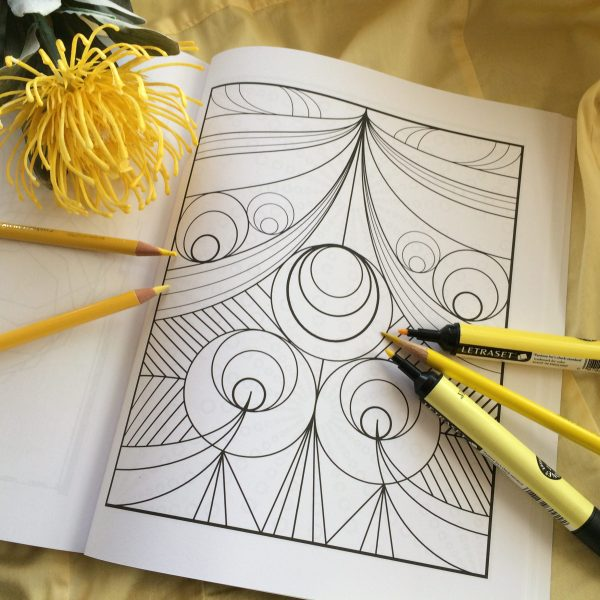 geometric circles with yellow background