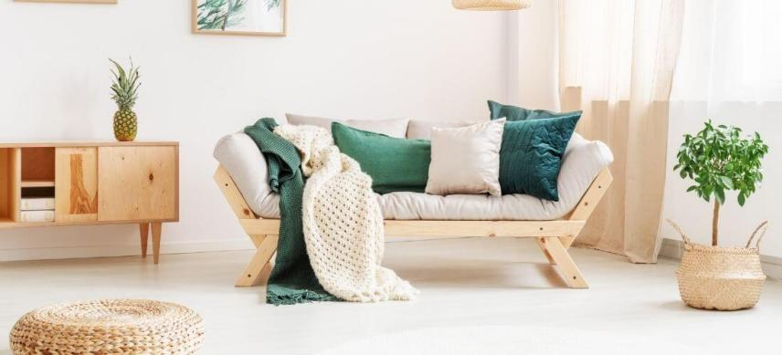 relaxation room ideas with cream and green colors