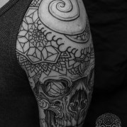 Skull Mandala Layered Thomas Hooper Dotwork Tattoo-17