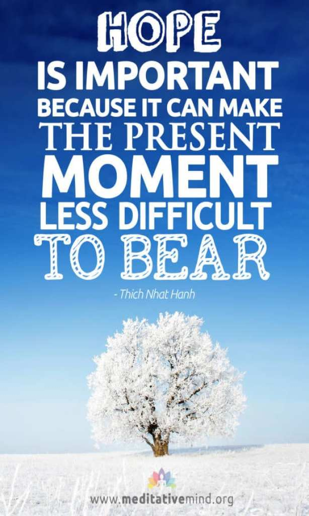 Hope is important because it can make the present moment less difficult to bear.
